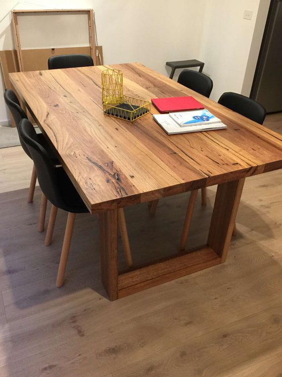 Melbourne Recycled Timber Table With Modern Box Legs – Custom Made For Preferred Natural Wood & Recycled Elm 87 Inch Dining Tables (View 3 of 20)