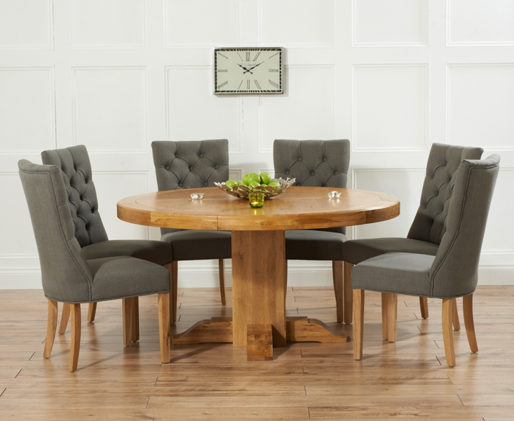 Memphis Solid Oak 150Cm Round Pedestal Dining Set With 4 Bari Grey In Favorite Dining Tables Grey Chairs (Gallery 7 of 20)