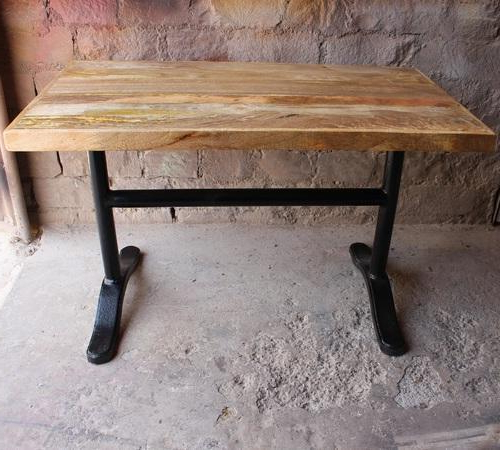 Metal & Wood Industrial Vintage Wrought Cast Iron Mango Wood Dining In Most Recently Released Mango Wood/iron Dining Tables (View 7 of 20)