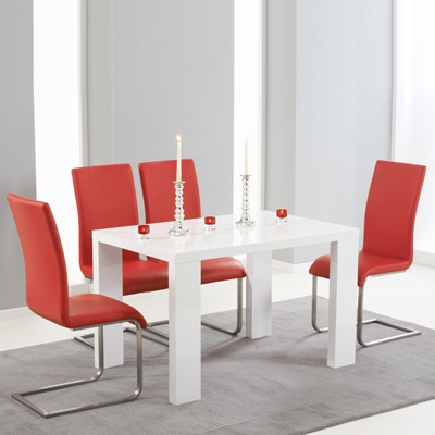 Metro High Gloss White 120cm Dining Table With 4 Milan Red Chairs For Newest Red Gloss Dining Tables (View 18 of 20)