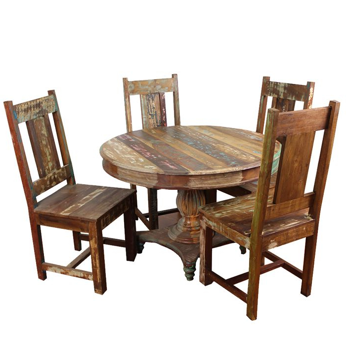 Meva Furniture Rainforest 5pcs Round Dining Table Set In Wood Throughout Well Liked Grady Round Dining Tables (View 14 of 20)