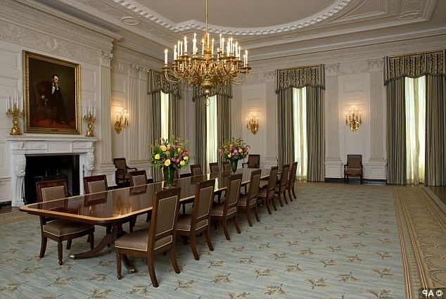 Michelle Obama Unveils $590k Changes To White House State Dining Throughout Preferred Bale 7 Piece Dining Sets With Dom Side Chairs (View 18 of 20)
