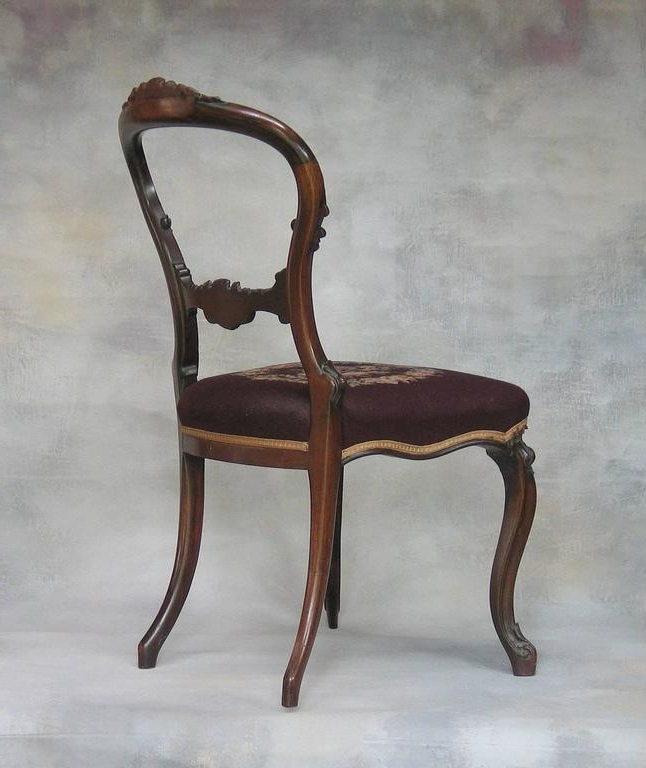 Mid Victorian Rocco Revival Rosewood Side Chair With Needlepoint For Trendy Rocco Side Chairs (View 16 of 20)