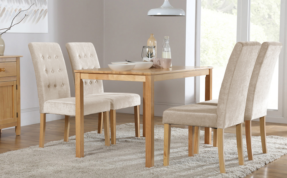 Milton Dining Table And 6 Chairs Set (Regent Oatmeal) Only £ (View 6 of 20)