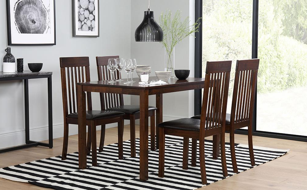 Milton Dining Tables For Widely Used Milton Dark Wood Dining Table And 6 Chairs Set (Oxford Dark) Only (View 3 of 20)