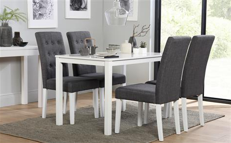 Milton White Dining Table And 4 Java Chairs Set Only £289.99 Pertaining To Latest White Dining Tables (Gallery 20 of 20)