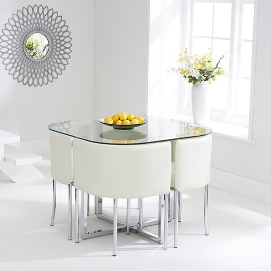 Mingo Glass Stowaway Dining Set In Clear With 4 Cream Intended For Trendy Stowaway Dining Tables And Chairs (View 16 of 20)