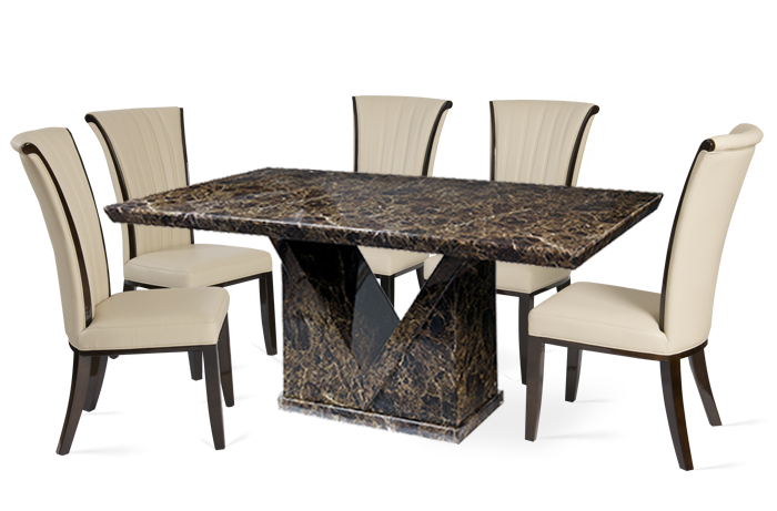 Minsk 160cm Brown Marble Effect Dining Table With Almeria Chairs Pertaining To Newest Marble Effect Dining Tables And Chairs (View 5 of 20)