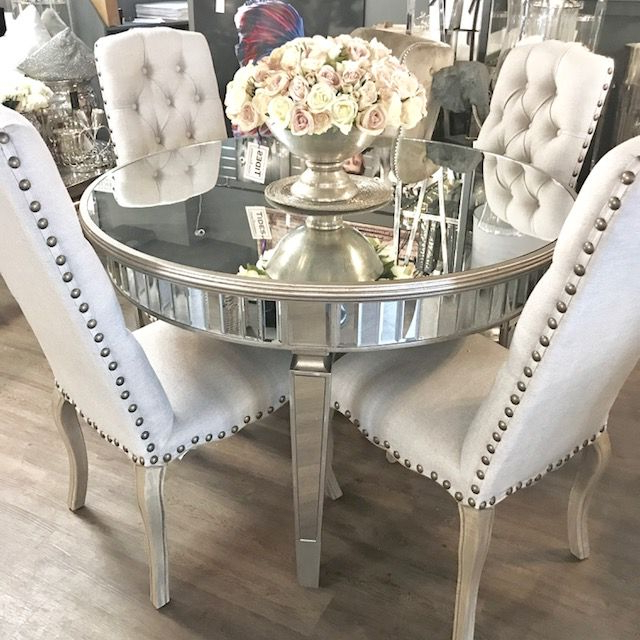 Mirrored Dining Tables Regarding Most Up To Date Bellamy Round Mirrored Dining Table (View 5 of 20)