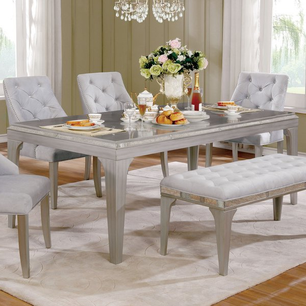 Mirrored Dining Tables Throughout Well Known Shop Furniture Of America Selano Contemporary Mirrored Silver (View 11 of 20)