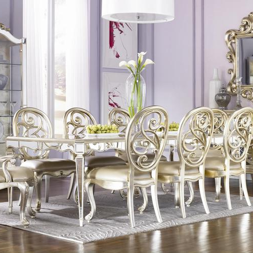 Mirrored Dining Tables Within Most Popular American Drew Jessica Mcclintock Couture Mirrored Leg Dining Table (View 7 of 20)