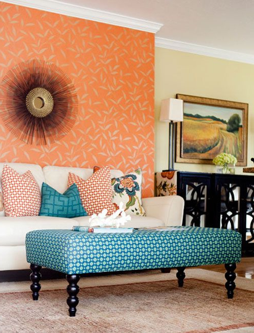 Mixing Patterns: Living Room In Teal, Orange And White (View 8 of 20)