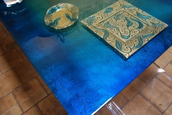 Modern And Attractive Glass Dining Table Design With Blue Sea Color Within 2017 Blue Glass Dining Tables (View 11 of 20)