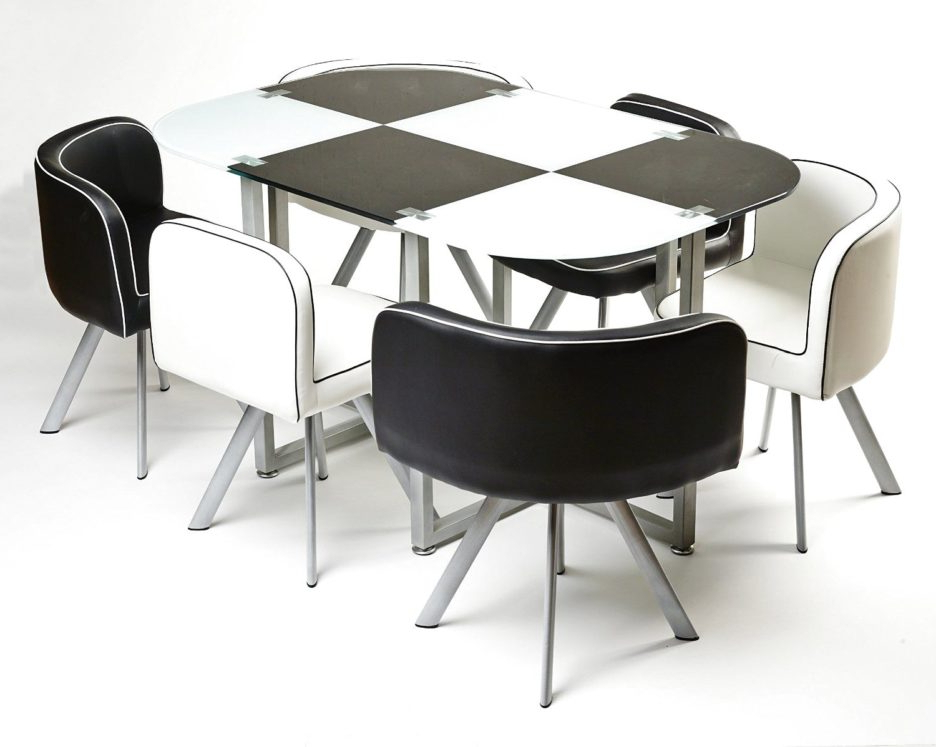 Modern Black And White Melamine Dining Table Using Silver Metal In Favorite White Melamine Dining Tables (View 7 of 20)