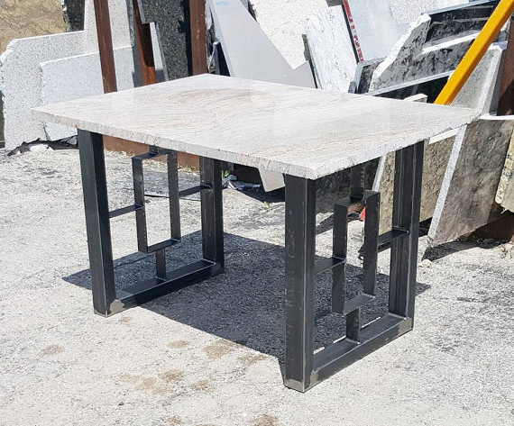 Modern Dining Table, Granite Top With Steel Square Legs In 2018 Intended For Most Up To Date Dining Tables With Metal Legs Wood Top (View 6 of 20)