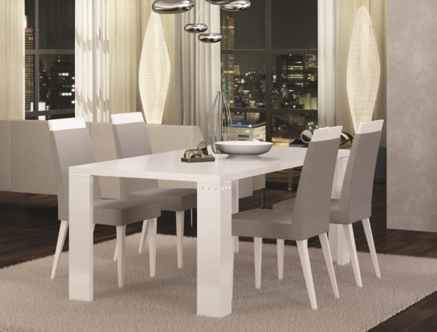 Modern Exquisite Diamond Fixed Or Ext. White High Gloss Dining Table With 2018 Dining Tables Grey Chairs (Gallery 19 of 20)