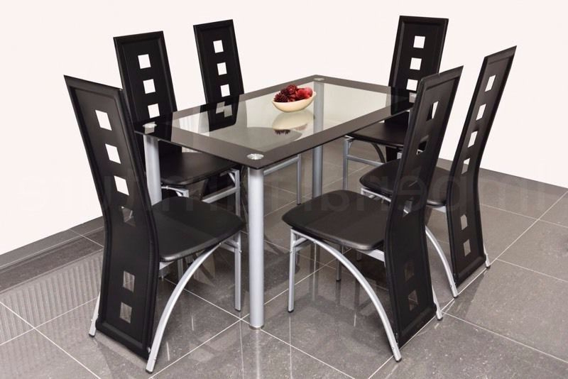 Modern Glass Dining Table And Chairs Set – Square Cut Outs Bargain Pertaining To Well Known Square Black Glass Dining Tables (View 12 of 20)