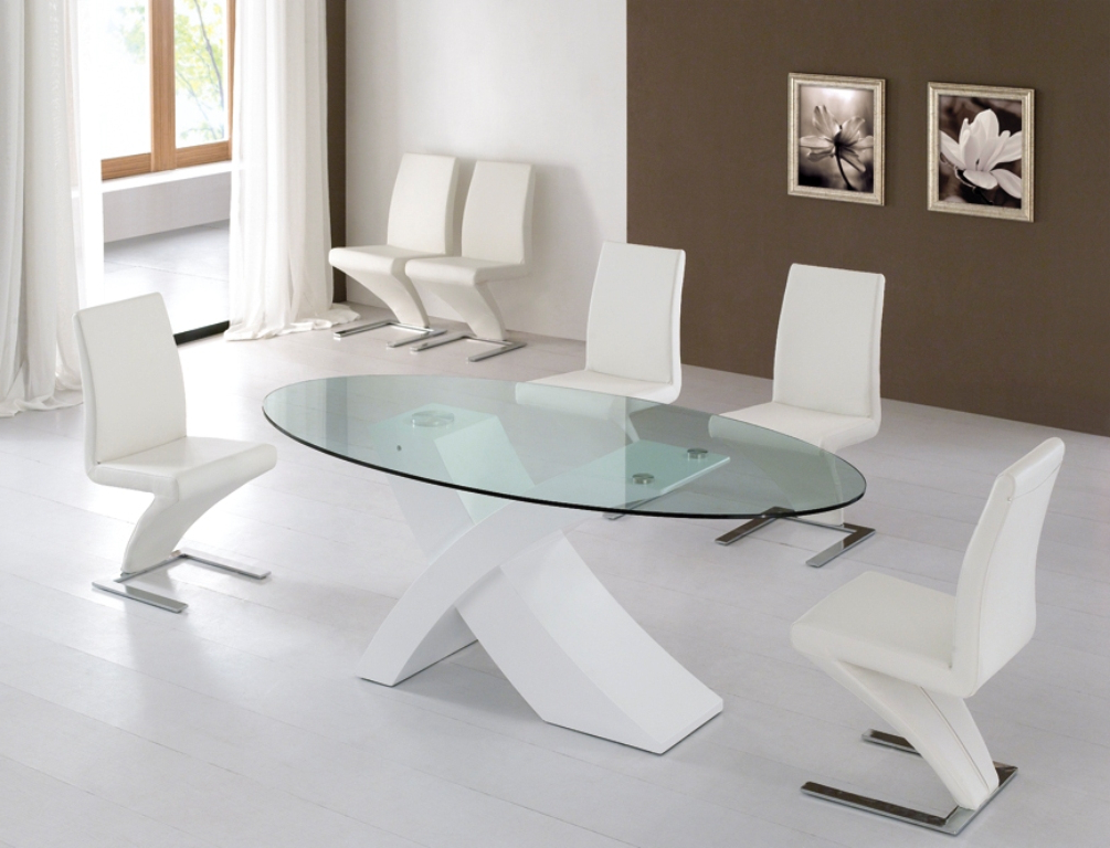 Modern Glass Dining Table Set Home And Interior Design In Well Liked White Glass Dining Tables And Chairs (View 17 of 20)