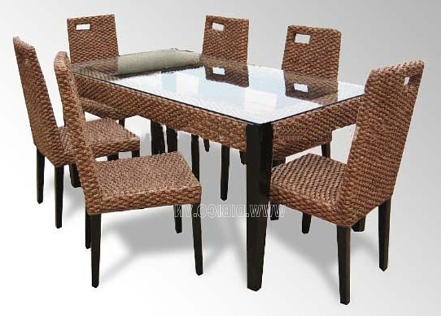 Modern Home Furniture Indoor Rattan Dining Table And Chairs For Intended For Most Recently Released Rattan Dining Tables (View 3 of 20)