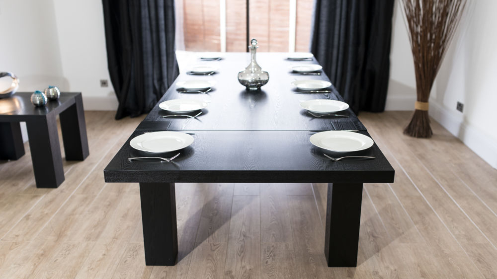 Modern Large Extending Black Ash Dining Table (View 14 of 20)