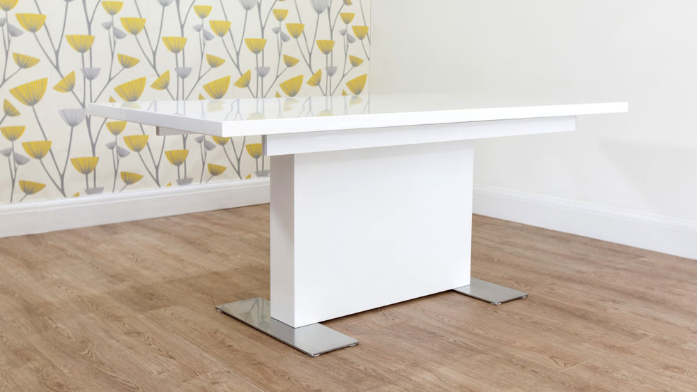 Modern Large White Gloss Extending Dining Table Set With Regard To Famous Extending White Gloss Dining Tables (View 13 of 20)