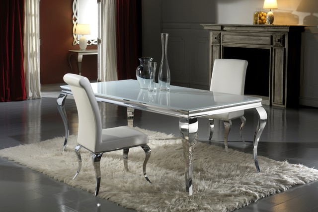 Modern Louis Inspired White Glass Dining Table And Chair Set Intended For Preferred Dining Tables London (View 14 of 20)