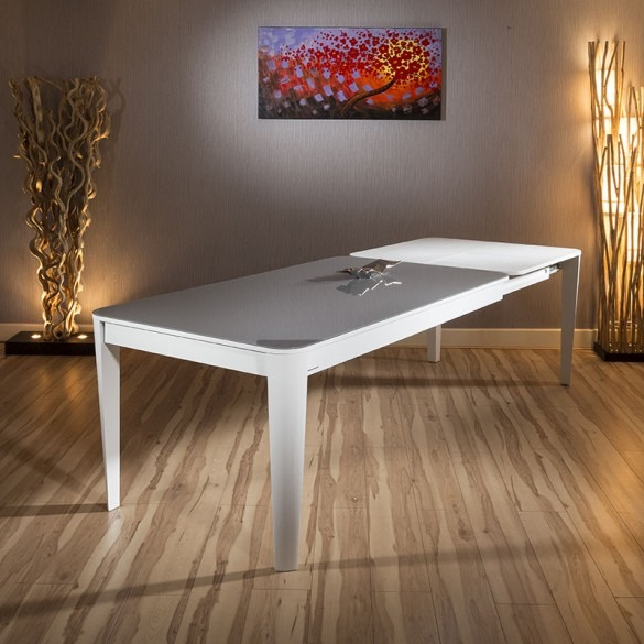 Modern Luxury Extending Glass Top Dining Table White Gloss 1800 With Most Up To Date White Gloss And Glass Dining Tables (View 6 of 20)