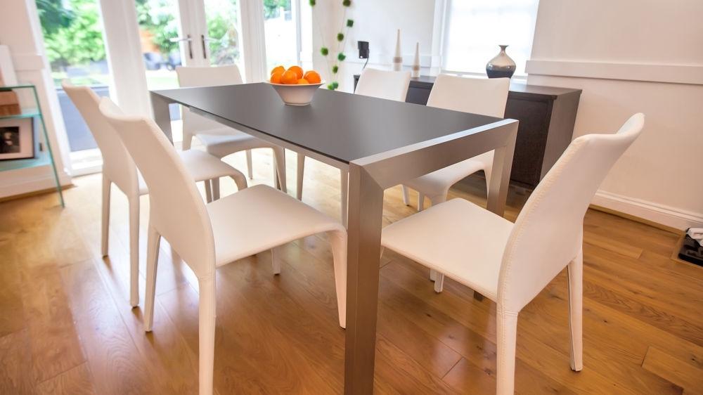 Modern Matt Black Extending Dining Table (View 4 of 20)