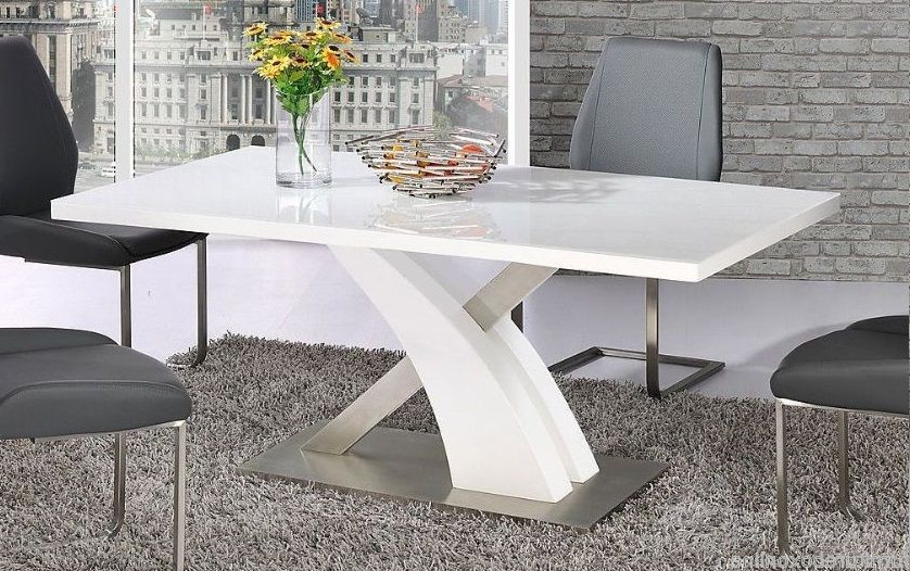 Modern Mayfair High Gloss Chrome White Metal 6 Chairs Seater Dining Regarding Best And Newest Mayfair Dining Tables (View 20 of 20)