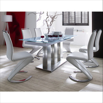 Modern Steel Frame 6 Seater Glass Dining Tables For Office And With Current Glass 6 Seater Dining Tables (View 7 of 20)