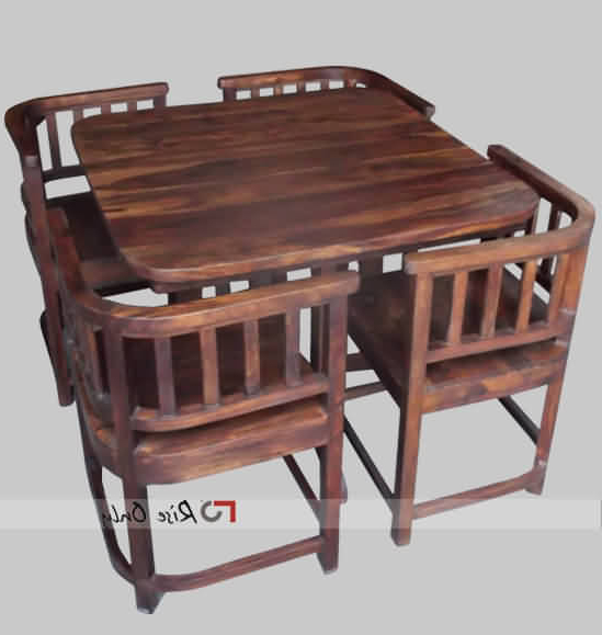 Modern Stylish Wooden Dining Table Set With 4 Chairs, Sheesham Wood With Well Liked Sheesham Dining Tables And 4 Chairs (View 7 of 20)