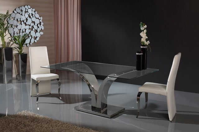 Modern V Shaped Base Glass Dining Table – Contemporary – Dining For Most Up To Date London Dining Tables (View 11 of 20)