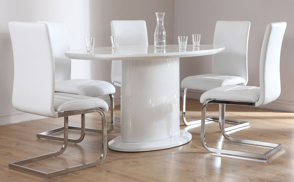 Monaco White High Gloss Oval Dining Table And 4 Chairs Set Intended For Fashionable High Gloss Dining Tables And Chairs (View 12 of 20)