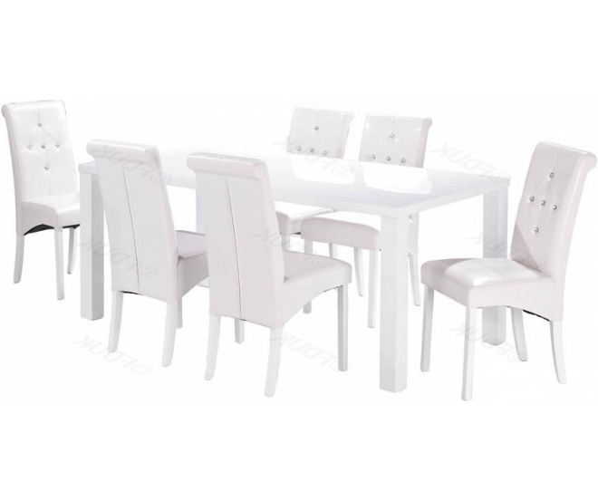 Monroe White High Gloss Dining Table With 6 Chair In Most Recently Released White High Gloss Dining Tables 6 Chairs (View 18 of 20)