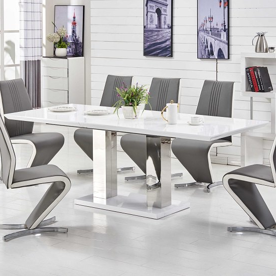 Monton Extendable Dining Table Large In White High Gloss Intended For Trendy Large White Gloss Dining Tables (View 8 of 20)