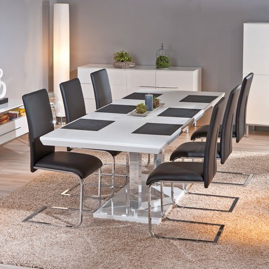 Monton Extendable White Gloss Dining Table With 6 Trishell With Current White Gloss Dining Tables Sets (View 11 of 20)