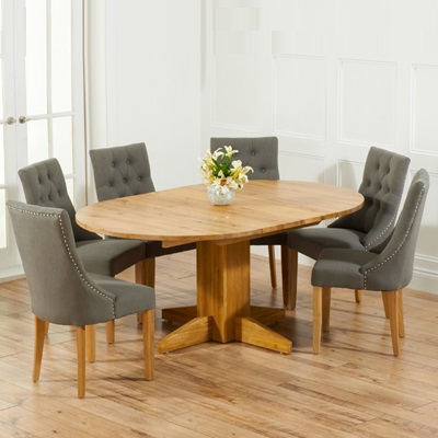 Monty Solid Oak Extending Round Dining Table With 6 Primly Grey With Regard To Fashionable Extending Round Dining Tables (View 10 of 20)