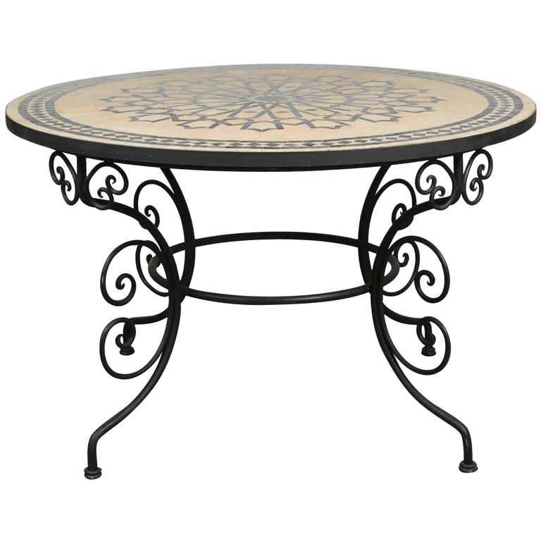 Mosaic Dining Tables For Sale Throughout Famous Moroccan Outdoor Round Mosaic Tile Dining Table On Iron Base 47 In (View 5 of 20)