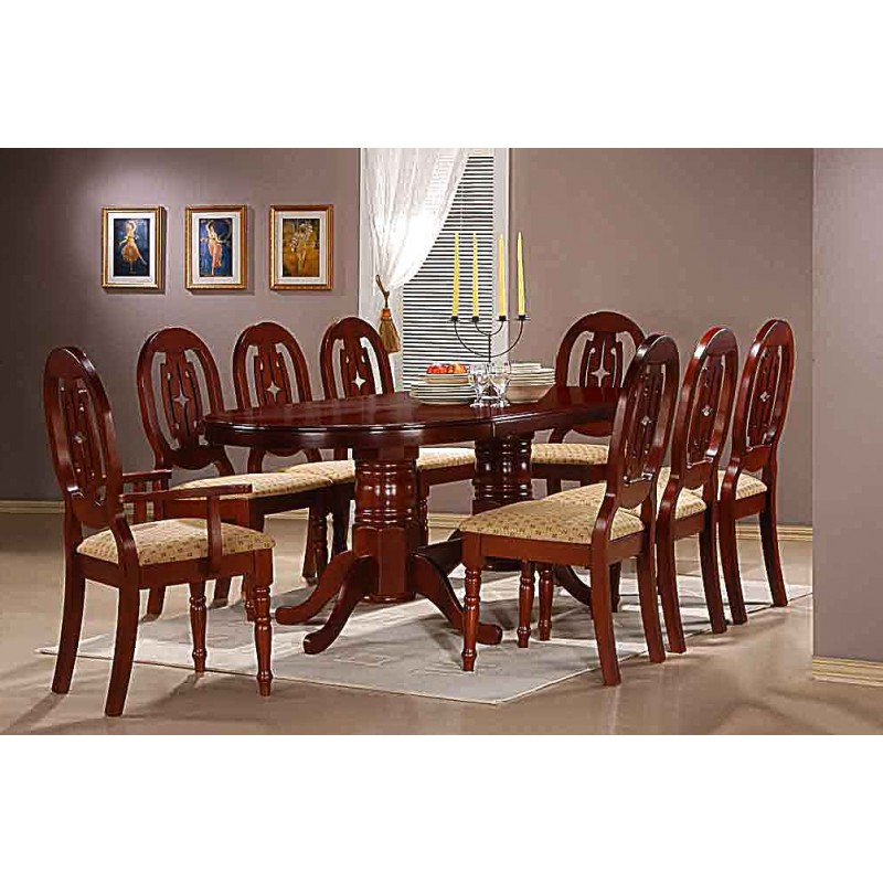 Moscow Large Oval Traditional Mahogany Dining Table Set With Eight Pertaining To Current Mahogany Dining Table Sets (View 20 of 20)