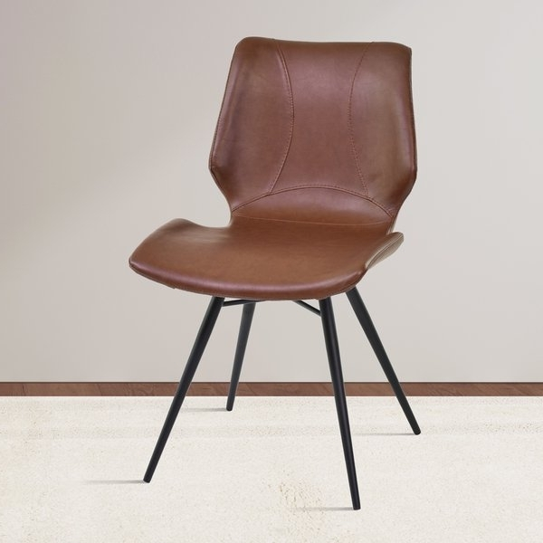 Most Current Armen Living Zurich Grey/brown Metal/faux Leather Vintage Dining With Regard To Plywood & Metal Brown Dining Chairs (View 8 of 20)