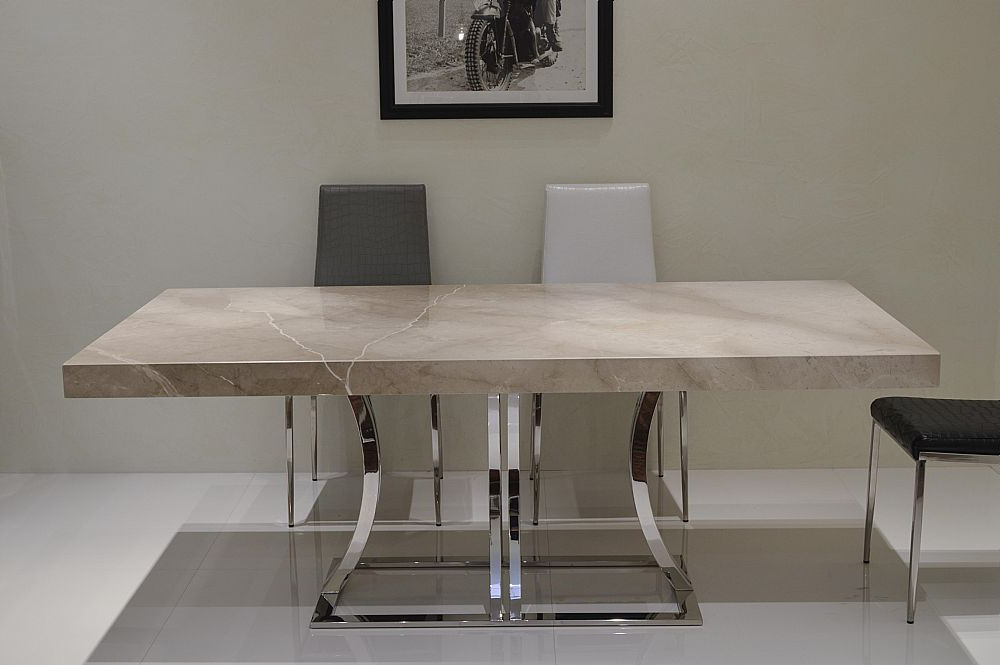 Most Current Aurora Steel Marble Dining Tablestone International Pertaining To Stone Dining Tables (View 4 of 20)