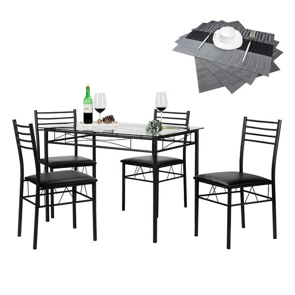 Most Current Black Glass Dining Tables And 4 Chairs Inside Shop Vecelo Glass Dining Table Set With 4 Chairs Kitchen Table Set (View 6 of 20)