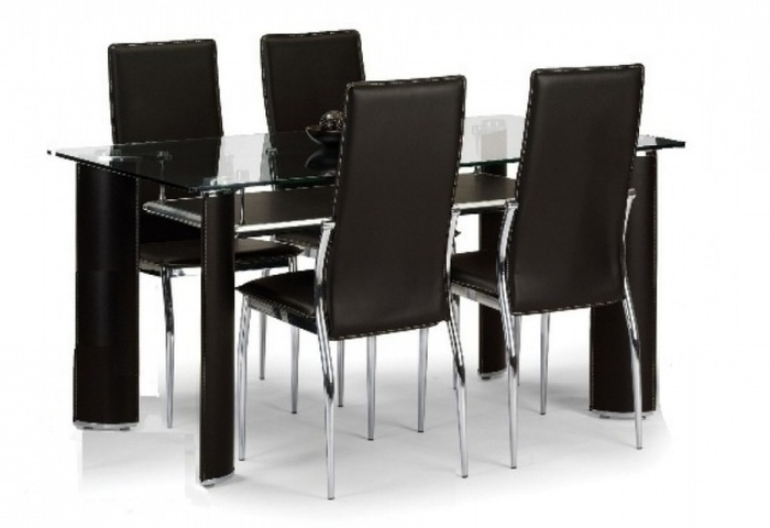 Most Current Black Glass Dining Tables And 4 Chairs Within  (View 16 of 20)