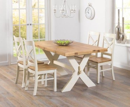 Most Current Bordeaux 165cm Oak And Cream All Sides Extending Table With For Cream And Wood Dining Tables (View 2 of 20)
