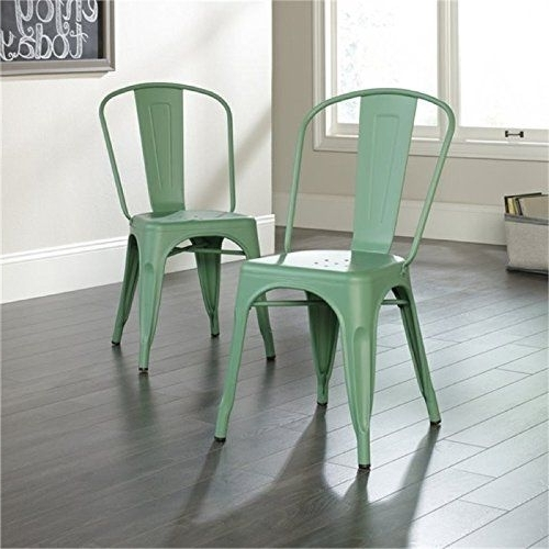 Most Current Bowery Ii Side Chairs With Bowery Hill Cafe Dining Chair In Matte Green (Set Of 2) (View 13 of 20)