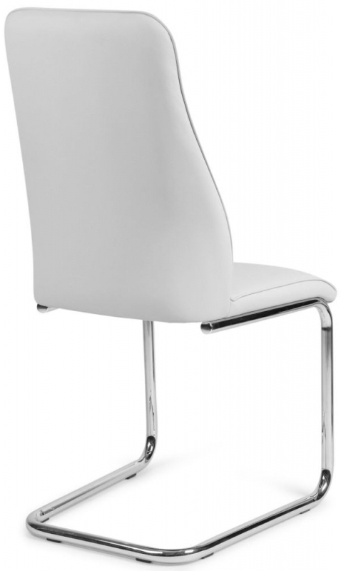 Most Current Bremen White Faux Leather Dining Chair With Chrome Legs (Pair) Throughout Chrome Leather Dining Chairs (View 14 of 20)