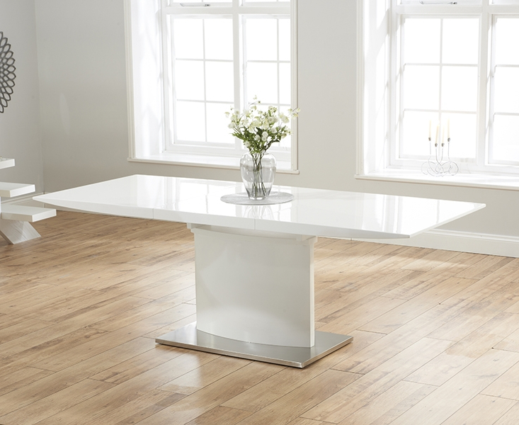 Most Current Buy Mark Harris Hayden White High Gloss Dining Set – 160Cm Within White High Gloss Dining Tables (View 7 of 20)