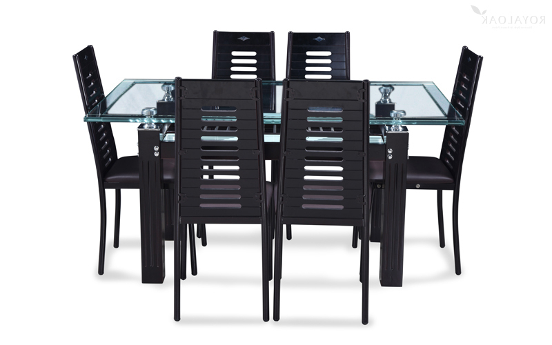 Most Current Buy Royaloak County 6 Seater Dining Set With Tempered Glass Top And With Regard To Glass 6 Seater Dining Tables (View 18 of 20)