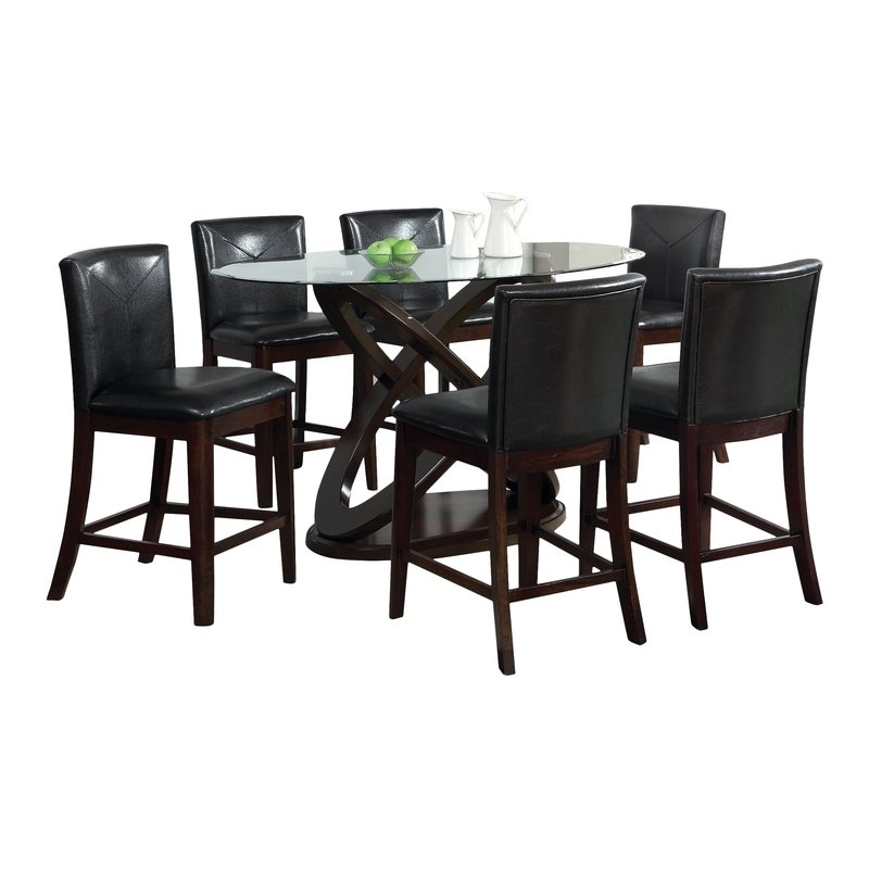 Most Current Caira 7 Piece Rectangular Dining Sets With Upholstered Side Chairs Inside Hokku Designs Ollivander 7 Piece Counter Height Dining Set & Reviews (View 12 of 20)