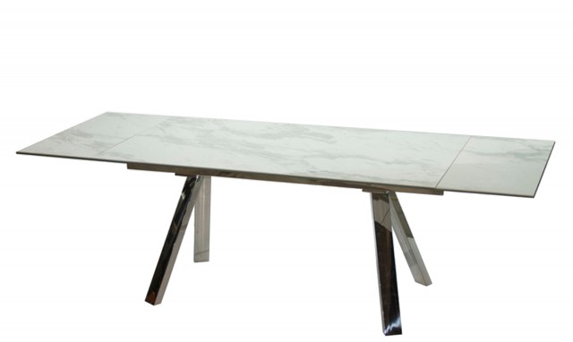 Most Current Cantania – White Extending Marble Top Dining Table – Fishpools For Extending Dining Sets (View 14 of 20)